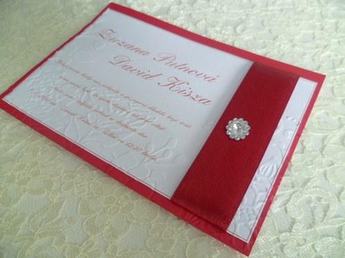 Svatební oznámení bordó se vzorem a stuhou