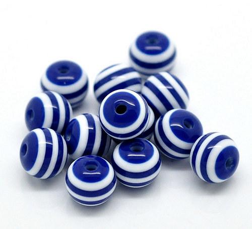kuličky pruh /plast /6mm/ modrobílá/ 20ks