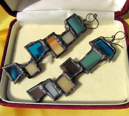 Skleněné vitrážové náušnice