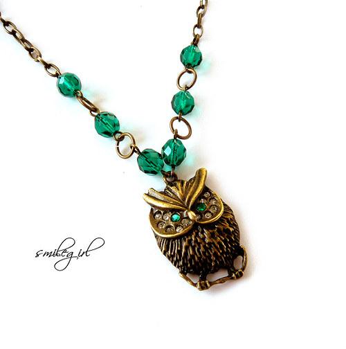 Náhrdelník Sovička emeraldová
