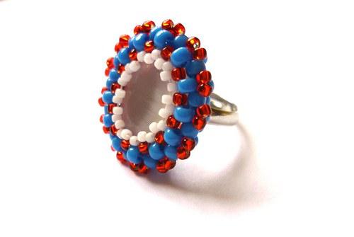 Obšívaný prsten s opalitem