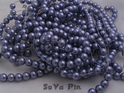 Voskované perly fialové 8mm; 40 ks