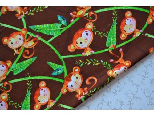 Roztomilé opičky na hnědém podkladu - teplákovina