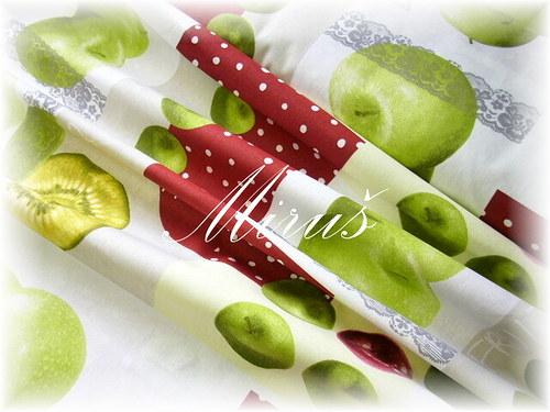 100% bavlna, metráž, látka-Jablka