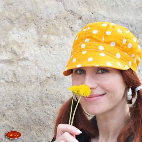 plátěná bekovka jaro/léto - žluté puntíky