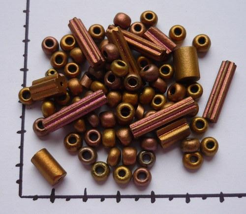Korálky skleněné ramšové perle bronzové, 20g