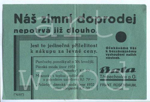 Reklama BAŤA Třebechovice p. O. rok 1932  - č.983