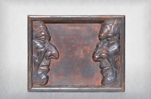 Rozhovor - bronzový reliéf - originál