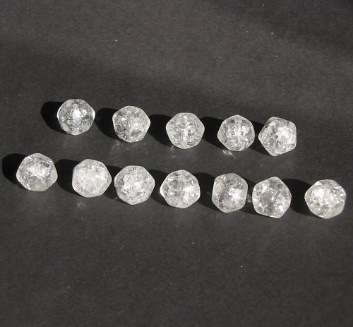 Práskané, bílé korálky, hrudka 10 mm, 10 ks