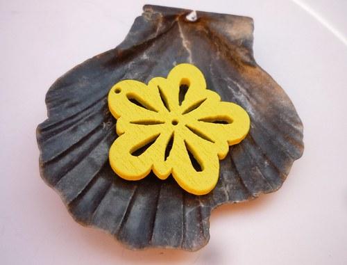 dřevěné kytičky 2 ks-  žluté