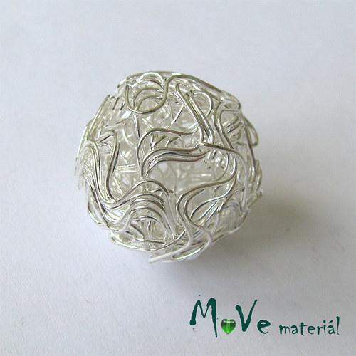 Kovový korálek klubíčko, stříbrné, 21mm, 1ks