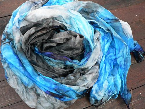 Šál veliký modrošedý s černou 180x90 cm