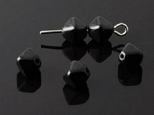korálky mačkané pyramida černá 10g