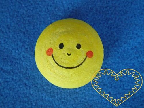 Žlutá vatová hlavička smajlík - 10 ks