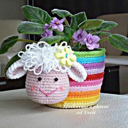 Obal na květináč s ovečkou - návod na háčkování