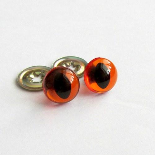 Bezpečnostní oči kočičí - oranž. průhledné,12 mm