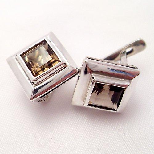 Náušnice «Okínko» - stříbro 925, přírodní záhněda