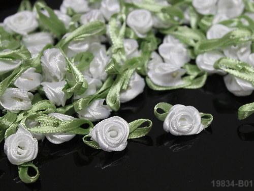 19834-B01 Aplikace růže BÍLÁ s listem,  bal. 10ks