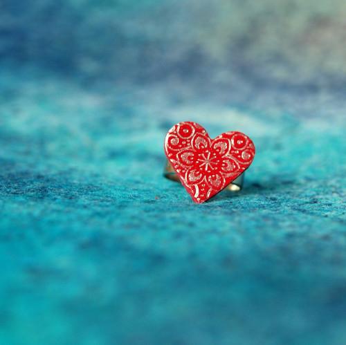Prsten - Karmínové srdce