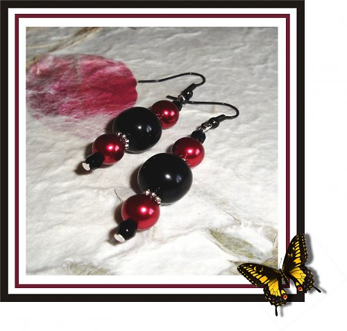 EARRING - Red and black