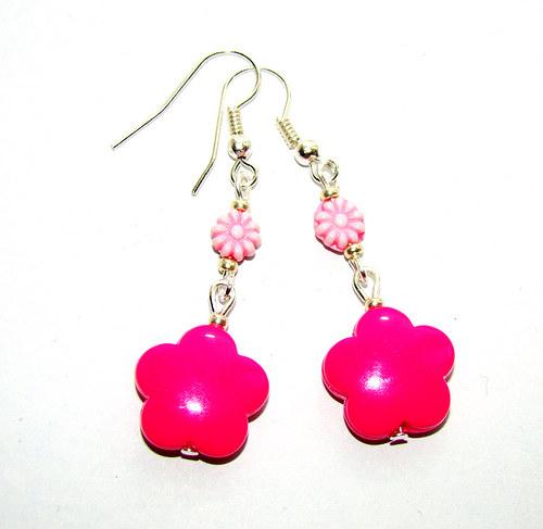 náušnice růžové kytičky