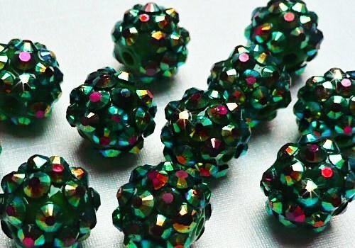 Discoball / Shamballa 12 mm - tm. zelená / 1 ks