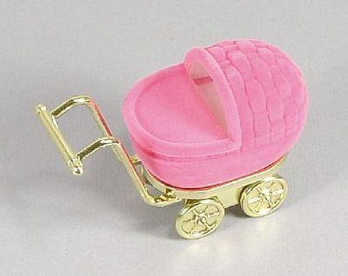 Sametová krabička na šperky - růžový kočárek
