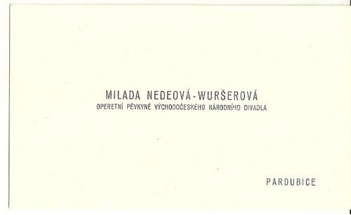 Vizitka Operní pěvkyně Pardubice Národní