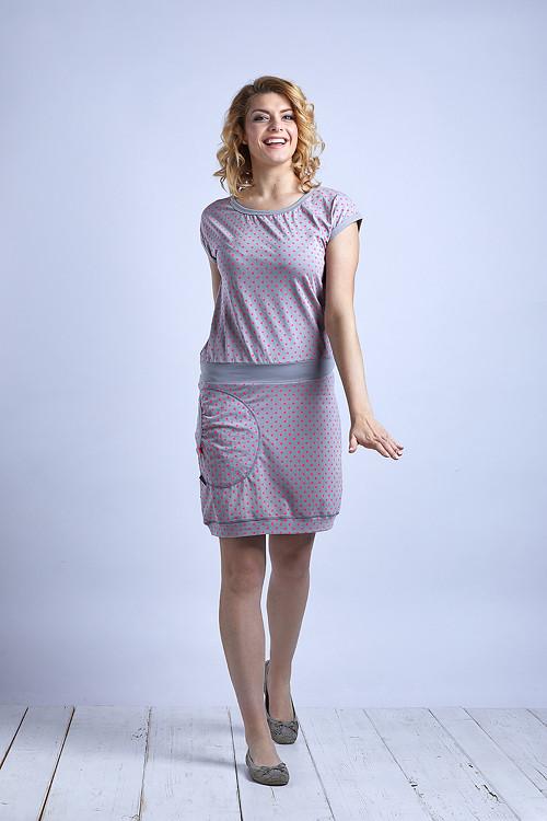 Dress Silver Gray/Pink Dots