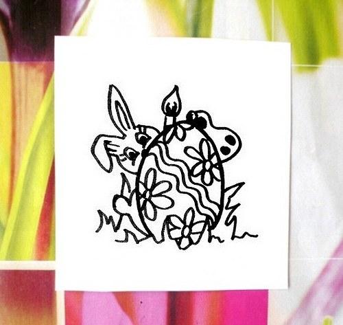 Zajíček maluje vajíčka... Omyvatelné razítko.