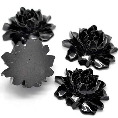 Pryskyřicový kabošon růže/ černá/ 35x45 mm/ 5ks