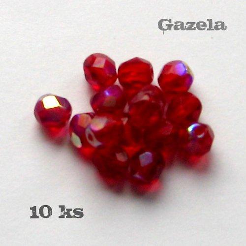 Korálky červené ploškované - 10 ks