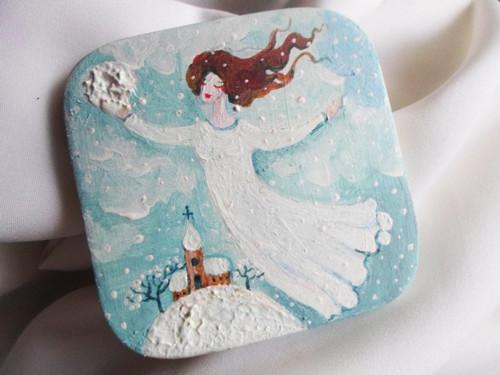 Malovaný magnet: Paní Zima