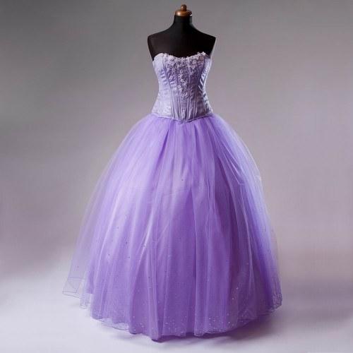 Třpytivá tylová sukně fialková