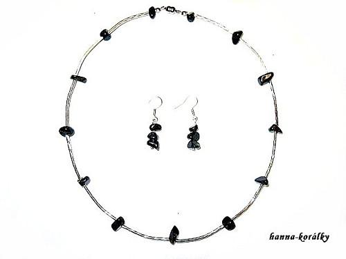 Souprava zelená - náhrdelník + naušnice