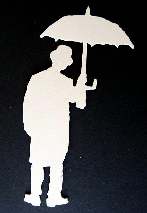 Výseky - pán s deštníkem