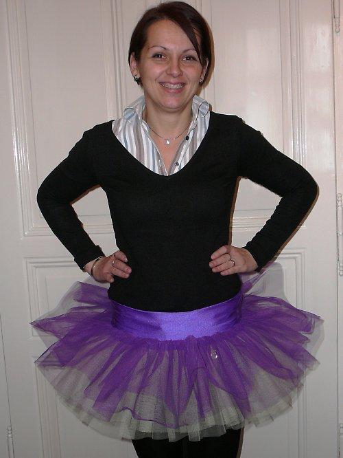 Tylová sukně fialovo/žlutá