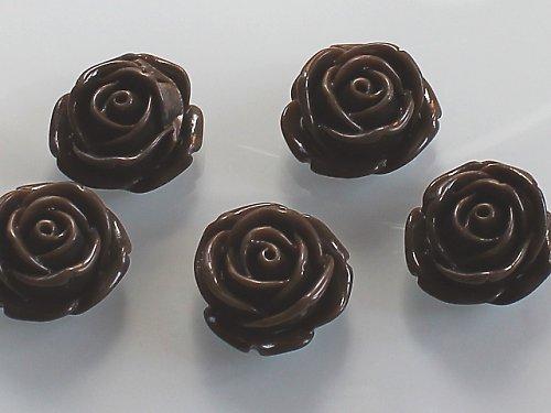 20060-B24 Kabošon květ růže HNĚDÝ, bal. 2ks