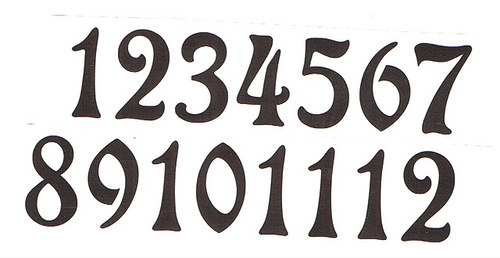 Čísla na hodiny nalepovací-ozdobná v.1,9cm