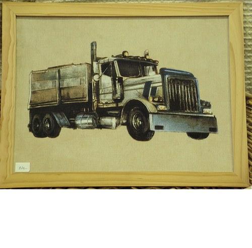 Textilní obrázek s nákladním autem