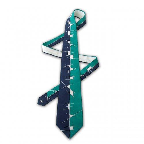 Bílo-modro-tyrkysová kravata