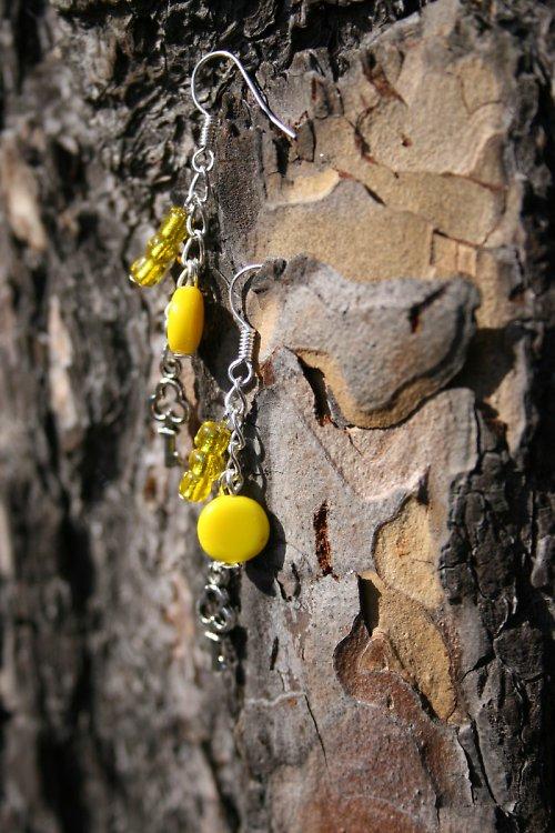 Náušnice klíč a žluté korálky