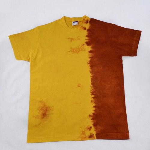 Žluto-vínové batikované triko (vel. S)