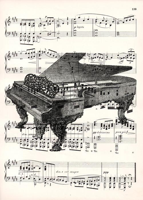 Tisk na starý notový papír z roku 1900 - PIANO