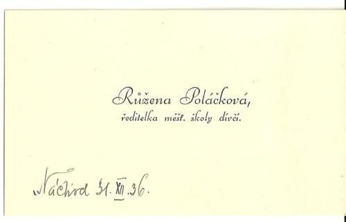 Vizitka Poláčková ředitelka školy Náchod 1936