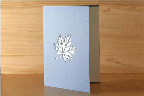Přání s listem javoru - pastelově modrá