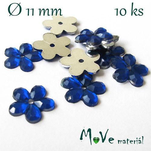 Květina plast Ø11mm našívací  10 ks král. modrá