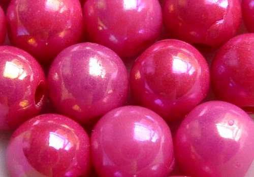 Plastové kuličky duhové 6 mm - stř. růžová / 10 ks