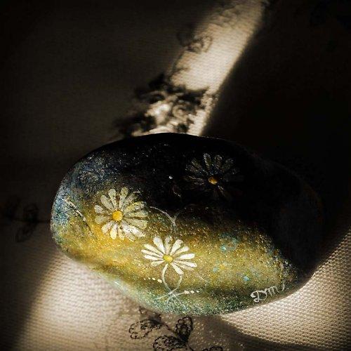 Malovaný kamínek-a zase ty kopretiny:-)