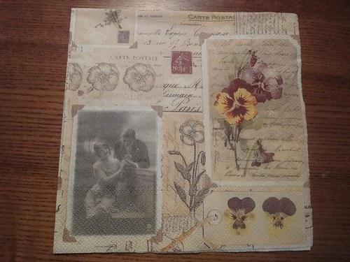 Ubrousek na decoupage - carte postale